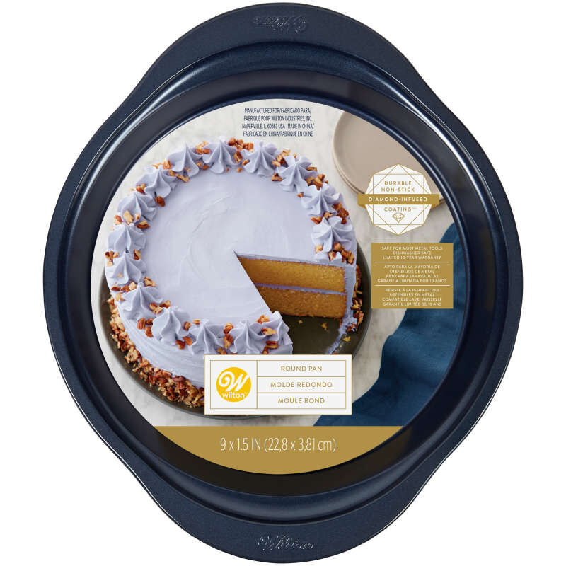 Diamond-Infused Non-Stick Navy Blue Round Baking Pan, 9-inch image number 1
