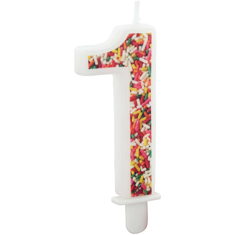 Sprinkle Pattern Number 1 Birthday Candle, 3-Inch image number 2