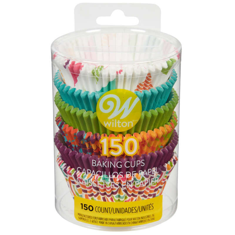Assorted Colors and Patterns Cupcake Liners, 150-Count image number 1