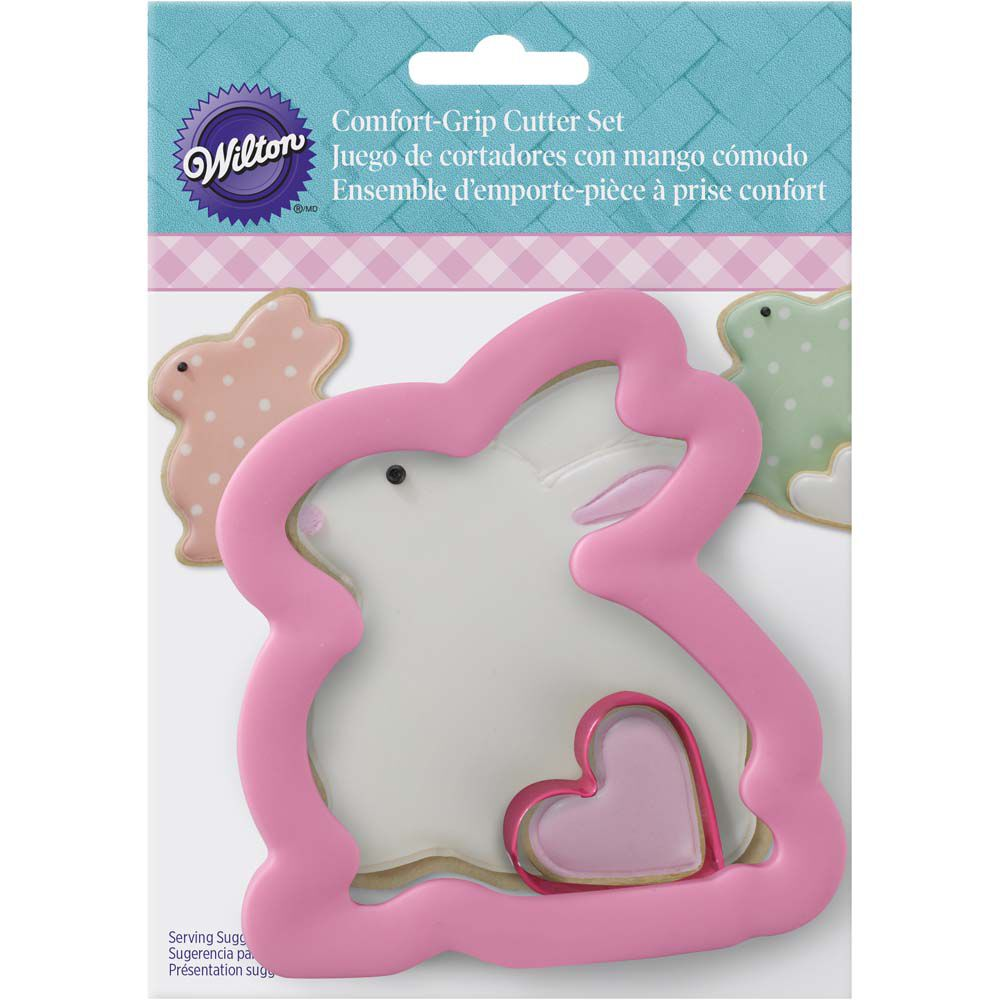 Comfort Grip Easter Bunny And Heart Cookie Cutter Set Wilton