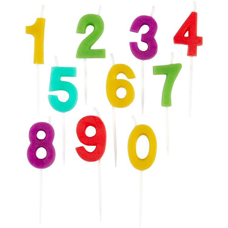 Rainbow Number Birthday Candle Pick Set, 10-Pack