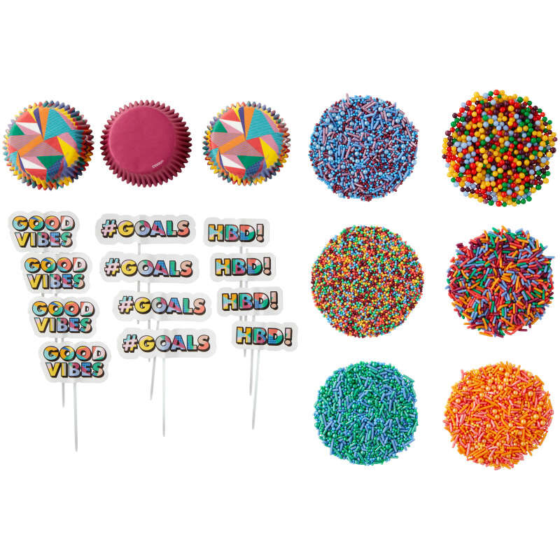 Pop Art Cupcake Decorating Kit Components Out of Packaging image number 0