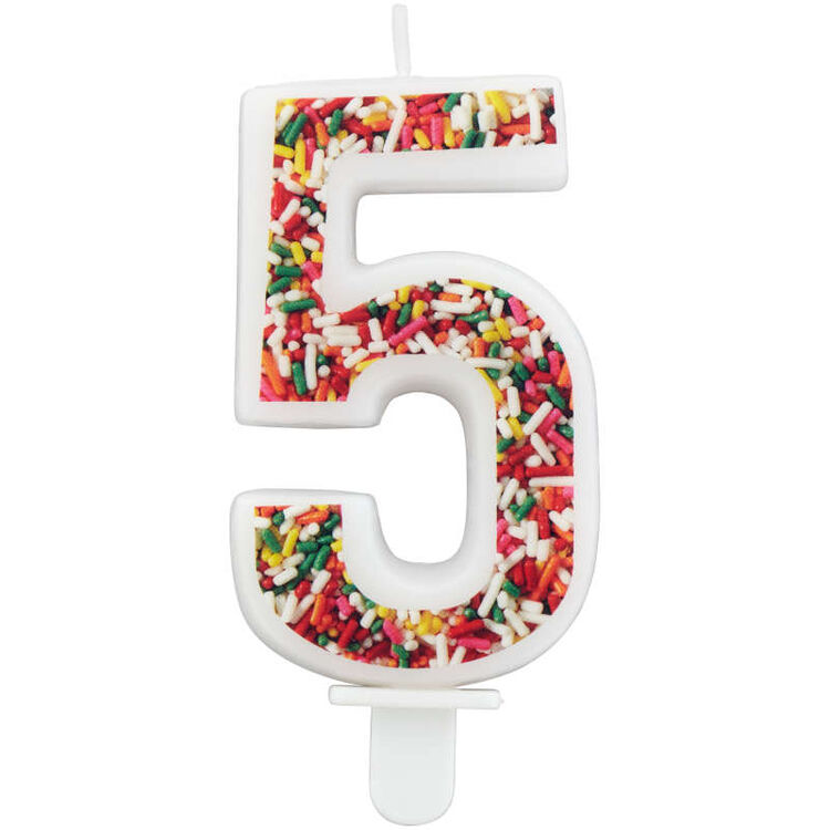 Sprinkle on the Birthday Fun Number 5 Birthday Candle