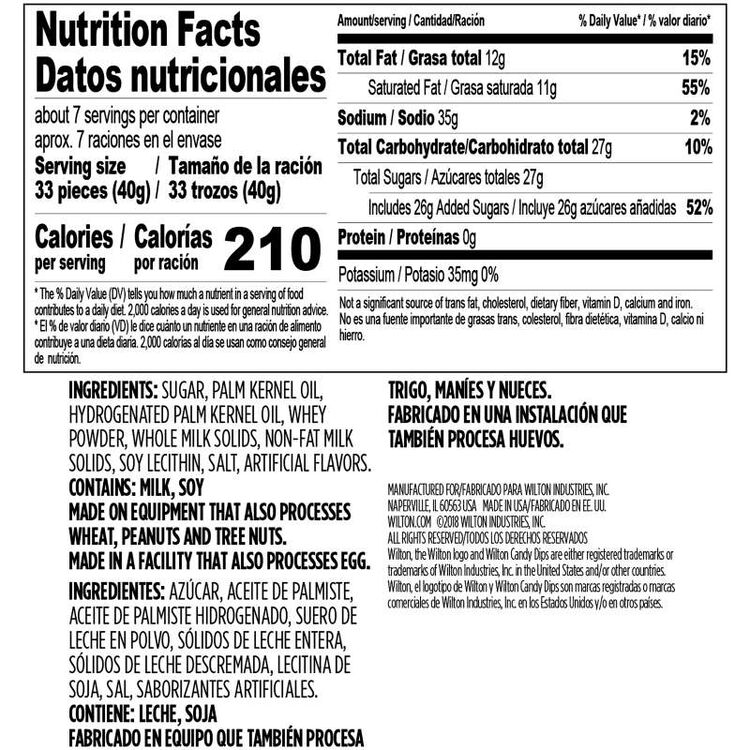 White Candy melts Candy Dips 10 oz Nutrition Facts and Ingredients