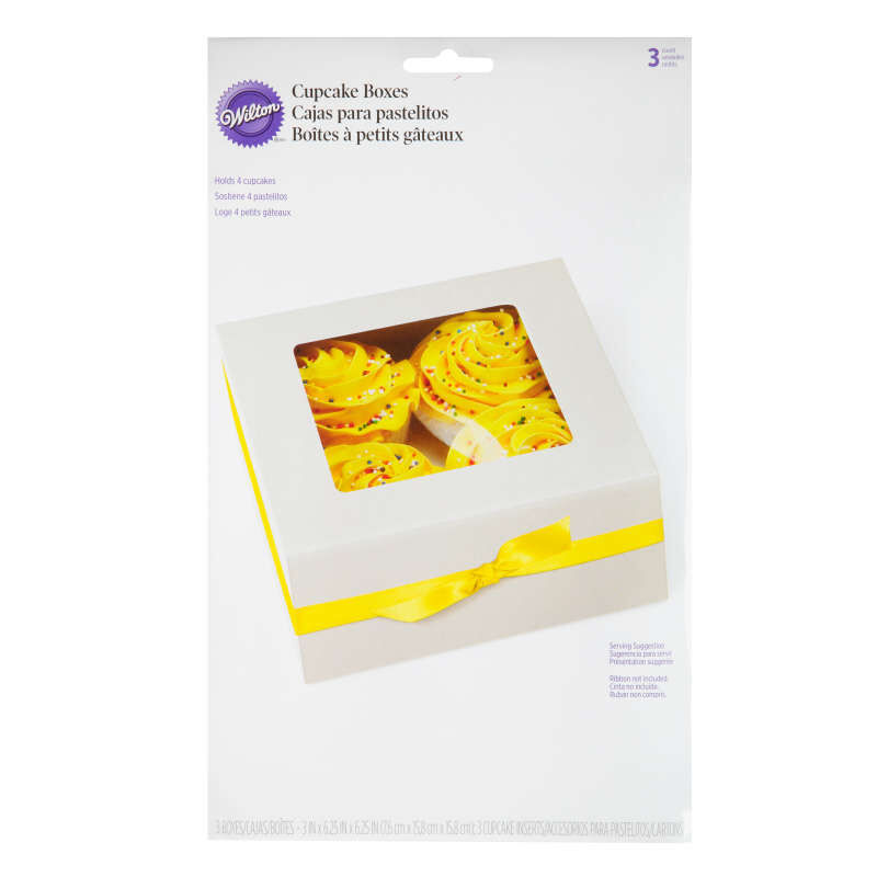 White Cupcake Boxes, 3-Count image number 1
