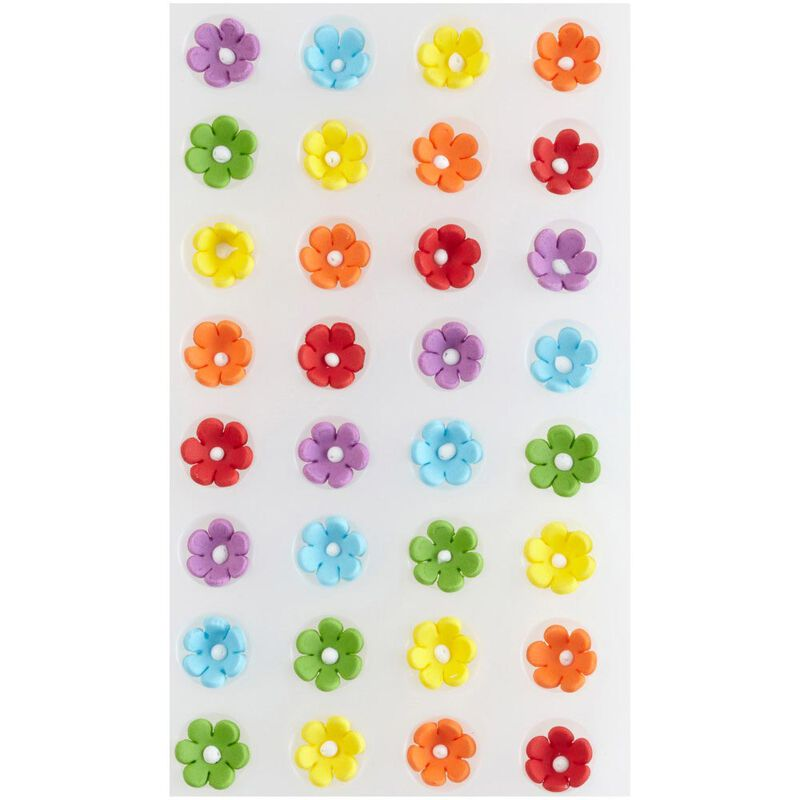 Mini Daisy Multi-Color Icing Decorations, 32-Count image number 0