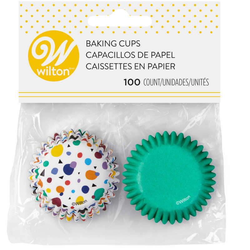 Geometric Print and Solid Green Mini Cupcake Liners, 100-Count image number 2