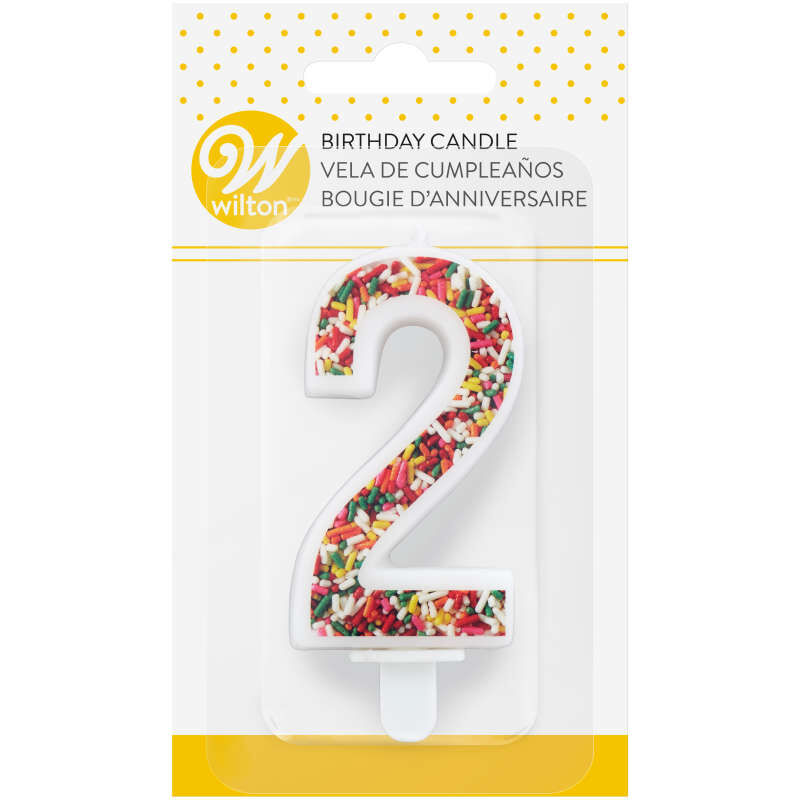 Sprinkle Pattern Number 2 Birthday Candle, 3-Inch image number 3