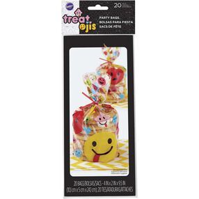 Treatoji party bags, clear with images of emoji