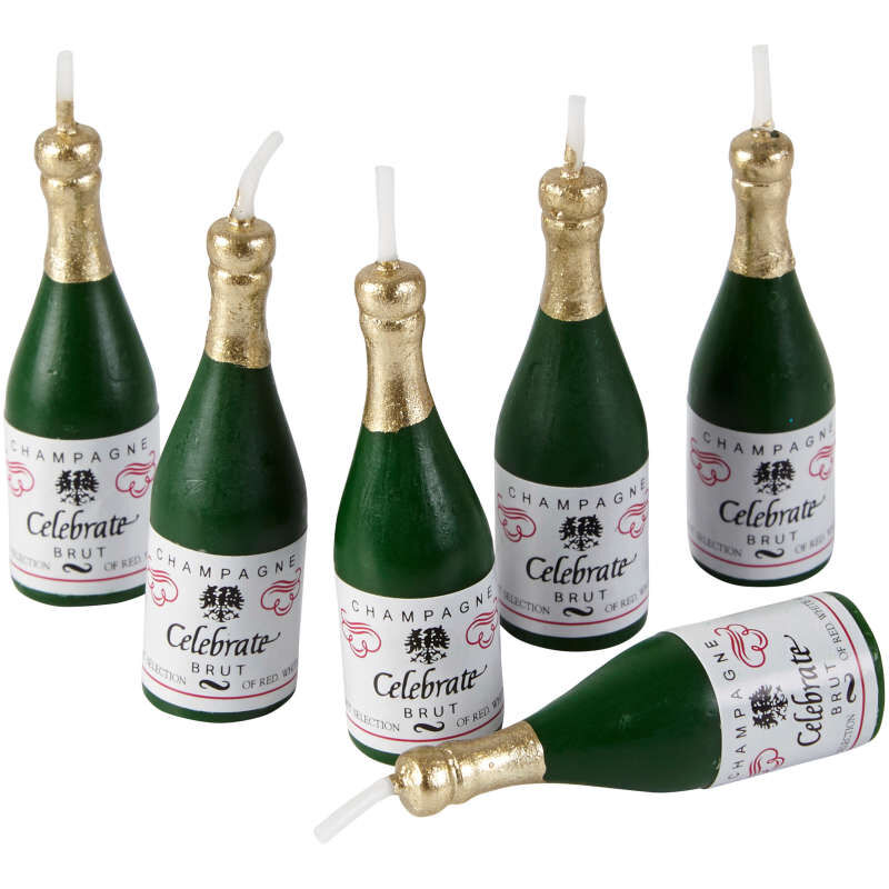 Champagne Bottle Candles, 6-Count image number 2