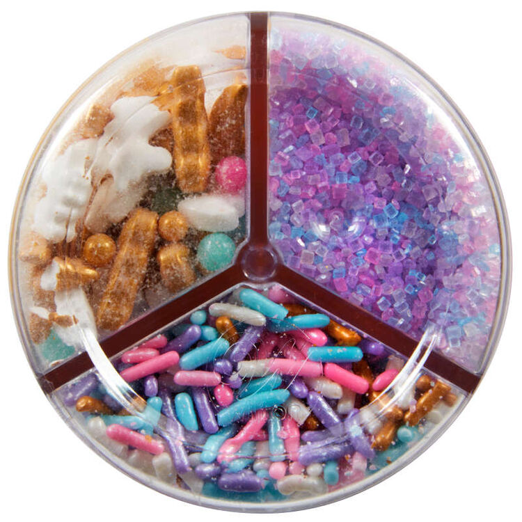 3-Cell Unicorn Sprinkles Mix with Turning Lid, 7.76 oz.