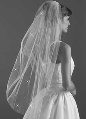 Blunt Edge Rhinestone Wedding Veil