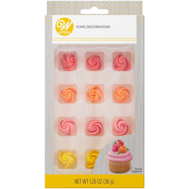 Red, Orange, Pink and Yellow Rose Royal Icing Decorations, 12-Count image number 0