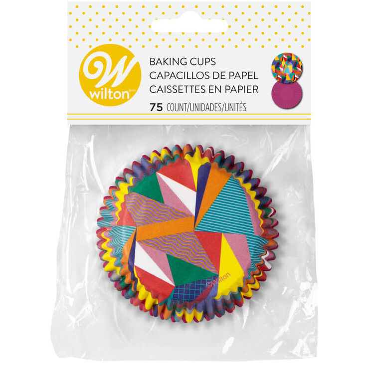 Pop Art Triangle and Solid Purple Cupcake Liners, 75-Count