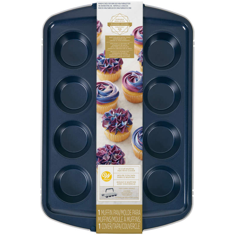 Diamond-Infused Non-Stick Navy Blue Muffin and Cupcake Pan, 12-Cup image number 1