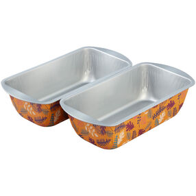 Bake and Bring Autumn Print Non-Stick Loaf Pans, 2-Count