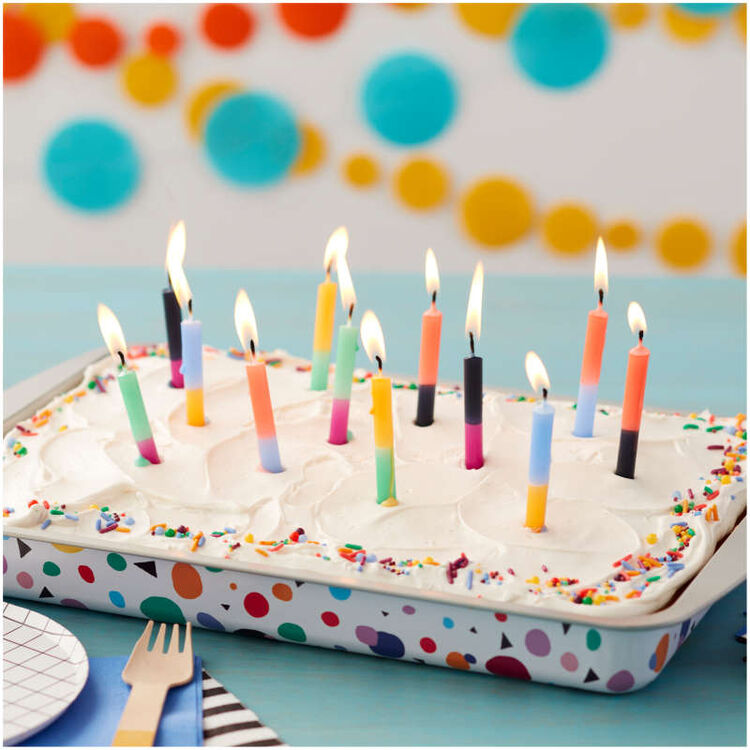 Bold Color Block Birthday Candles, 12-Count