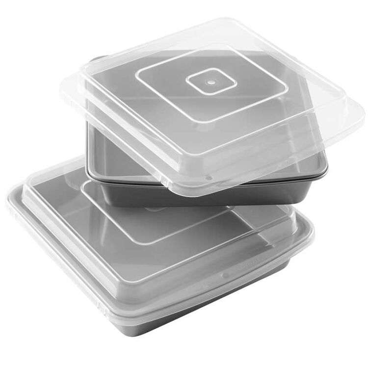 Recipe Right Non-Stick 9-Inch Square Brownie Baking Pan with Lid, Multipack of 2