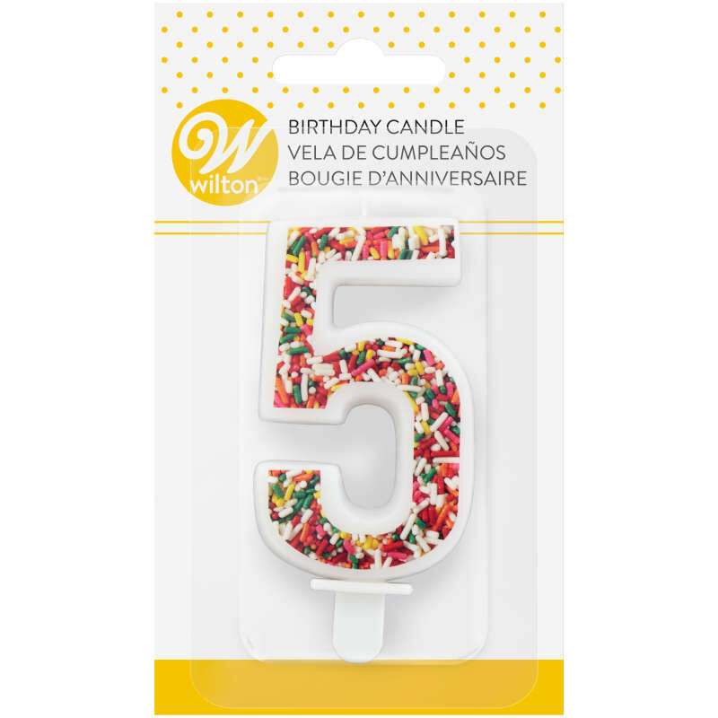 Sprinkle Pattern Number 5 Birthday Candle, 3-Inch image number 3