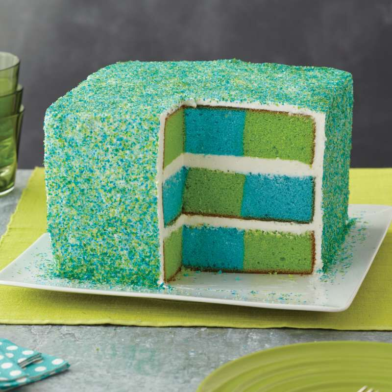 Square Rainbow Checkerboard Cake Pan, 4 Piece Set image number 4