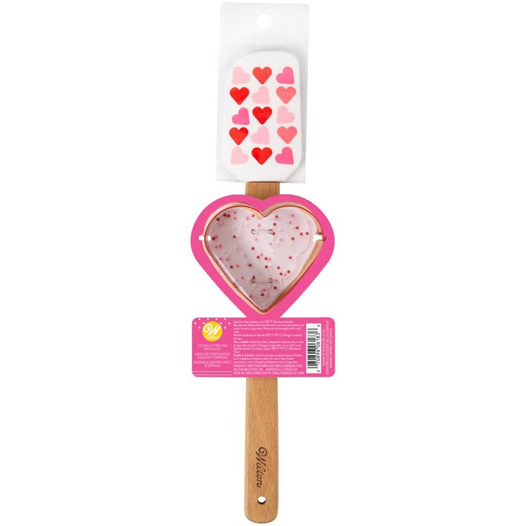 Valentine's Day Heart Spatula and Cookie Cutter Set, 2-Piece