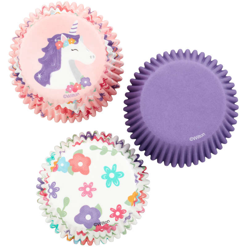 Unicorn, Flower Print and Solid Purple Baking Cups, 75-Count image number 0