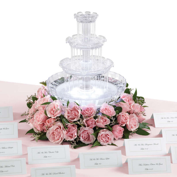 Tabletop Water Fountain with Pink Roses