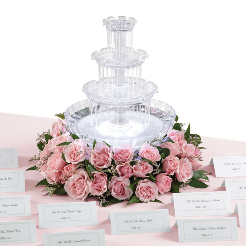 Tabletop Water Fountain with Pink Roses image number 3