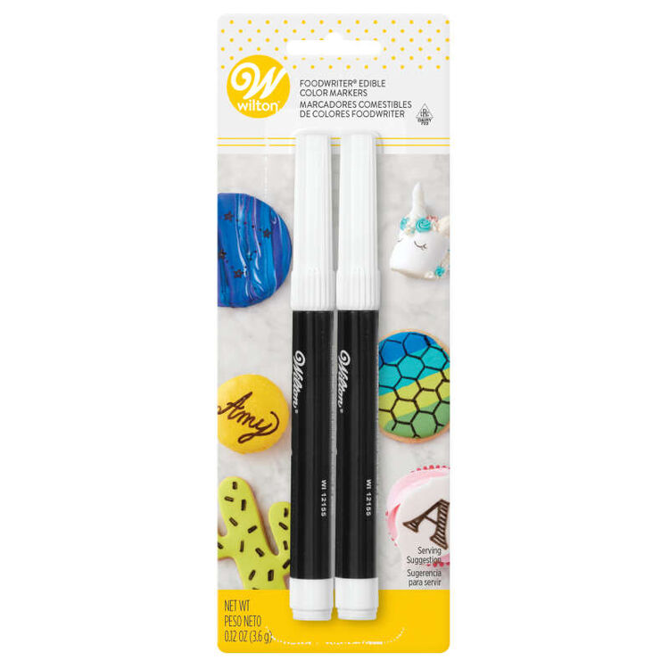 FoodWriter Edible Black Color Marker Set, 2-Piece