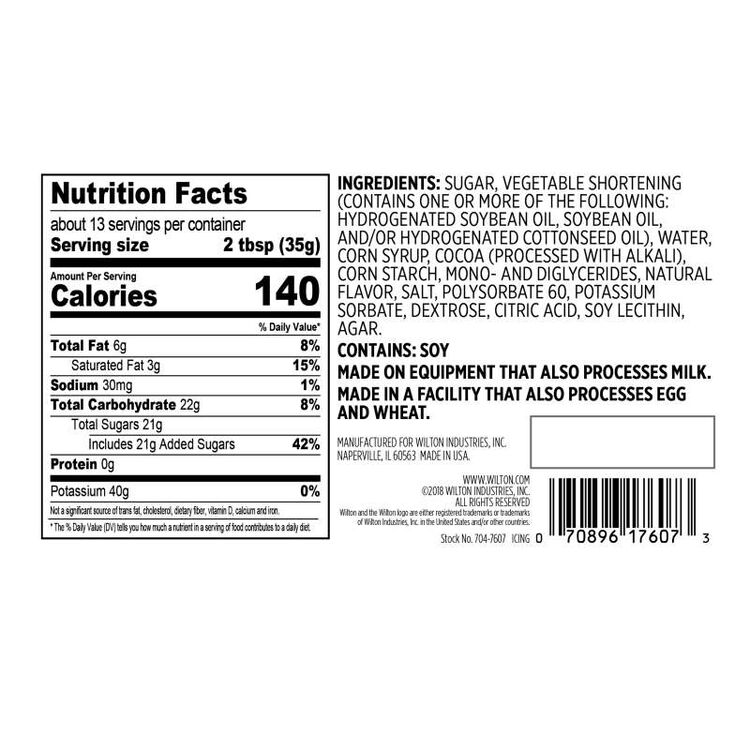 Naturally Flavored Rich Chocolate Frosting Nutrition Facts and Ingredients