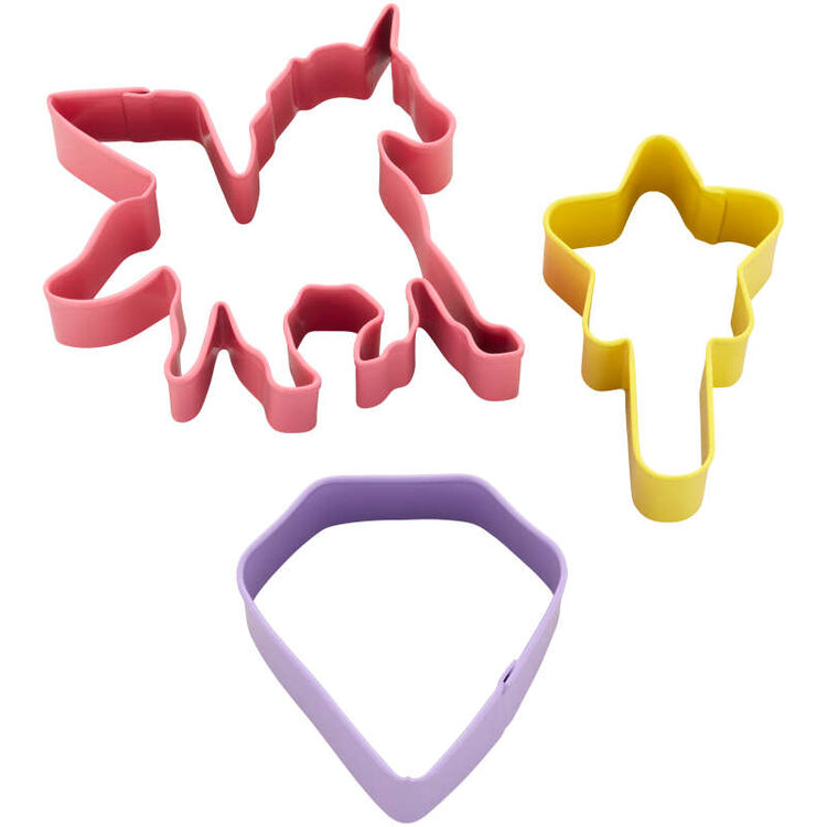 3-Piece Magical Birthday Cookie Cutter Set (Unicorn, Magic Wand, Diamond)