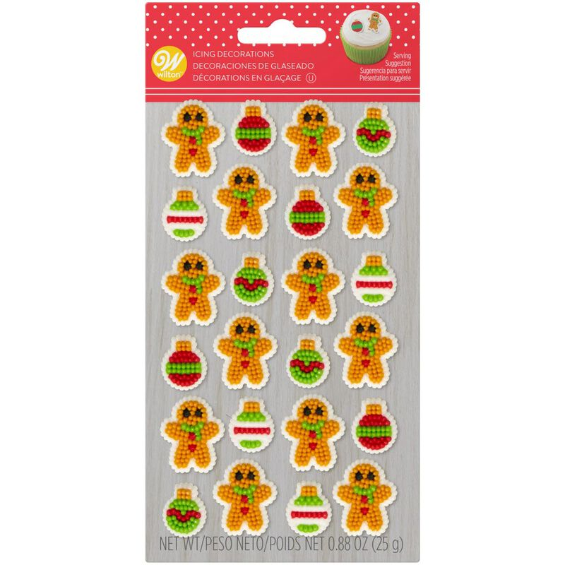 Gingerbread Boy and Ornament Icing Decorations, 0.88 oz. image number 0