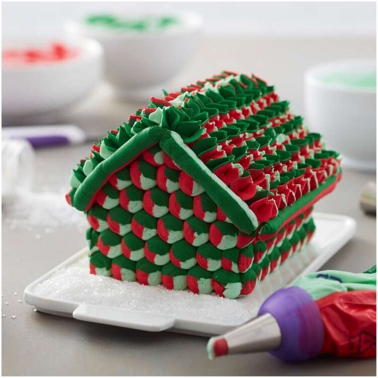 Gingerbread House Decorated with Colored Buttercream Frosting