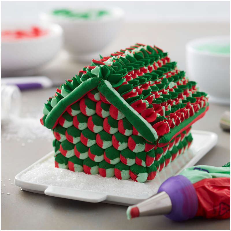 Gingerbread House Decorated with Colored Buttercream Frosting image number 7