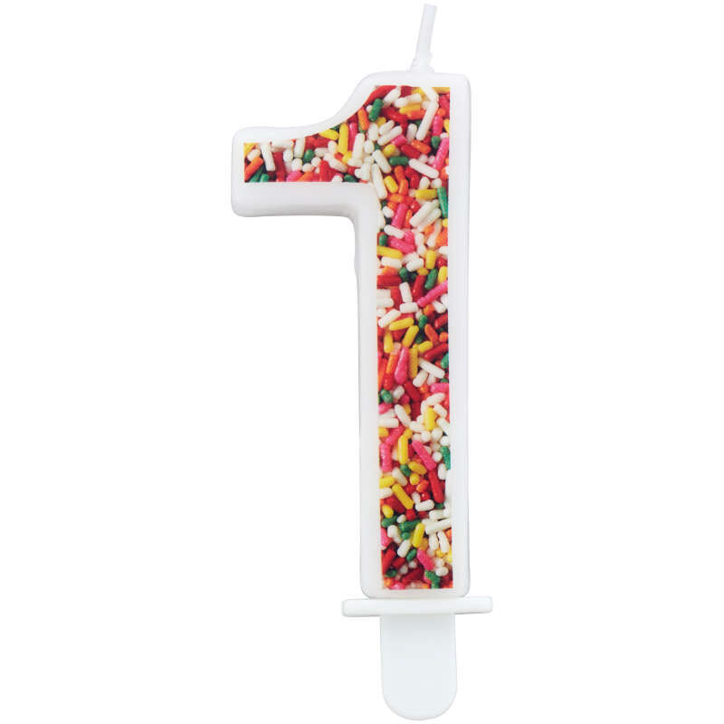 Sprinkle Pattern Number 1 Birthday Candle, 3-Inch image number 0