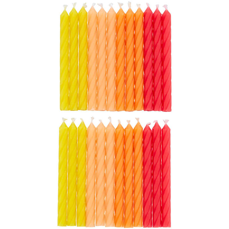 Red, Orange and Yellow Ombre Birthday Candles, 24-Count