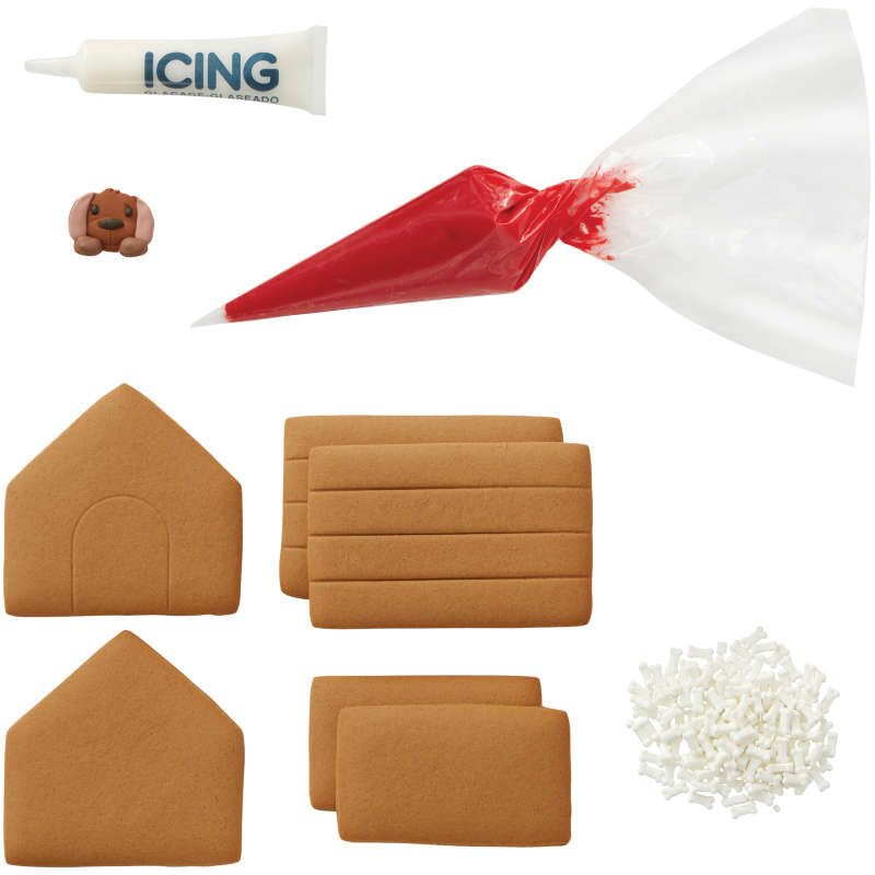 Gingerbread Doghouse Kit Components image number 2