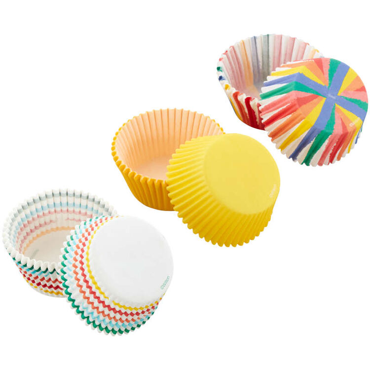 Rainbow, Striped and Yellow Standard Baking Cups, 75-Count
