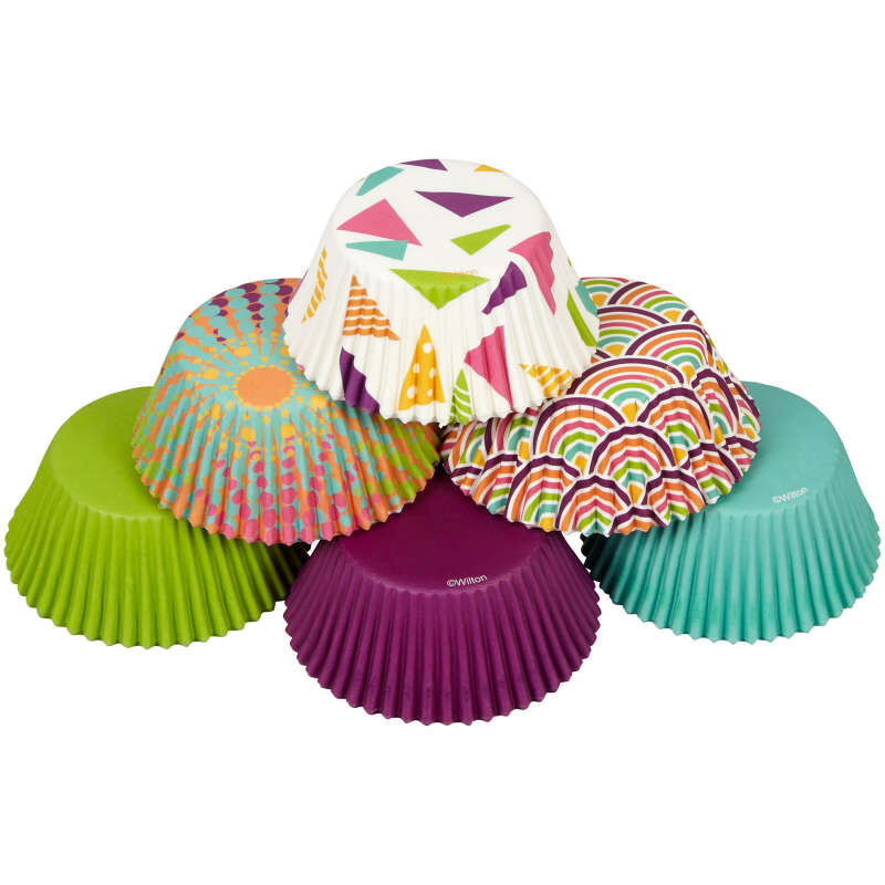 Assorted Colors and Patterns Cupcake Liners, 150-Count image number 3