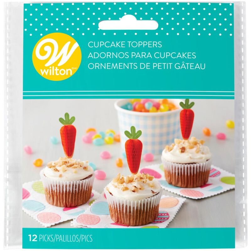 Honeycomb Carrot Cupcake Toppers 12-Count image number 1