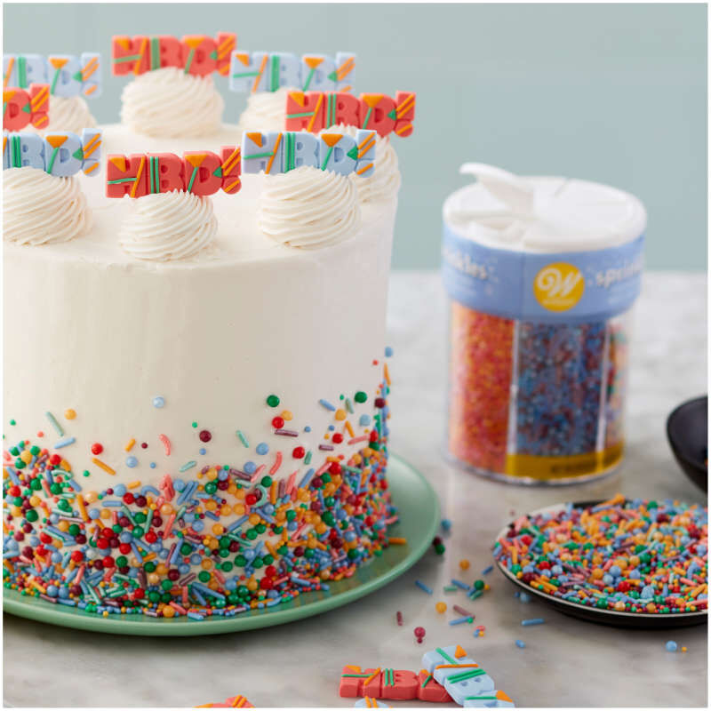 White Birthday Cake with Bright Sprinkles image number 5
