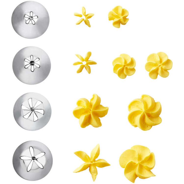 Cake Decorating Drop Flower Tips, 4-Piece Piping Tips Set