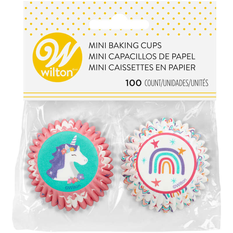 Unicorn and Rainbow Mini Cupcake Liners, 100-Count image number 1