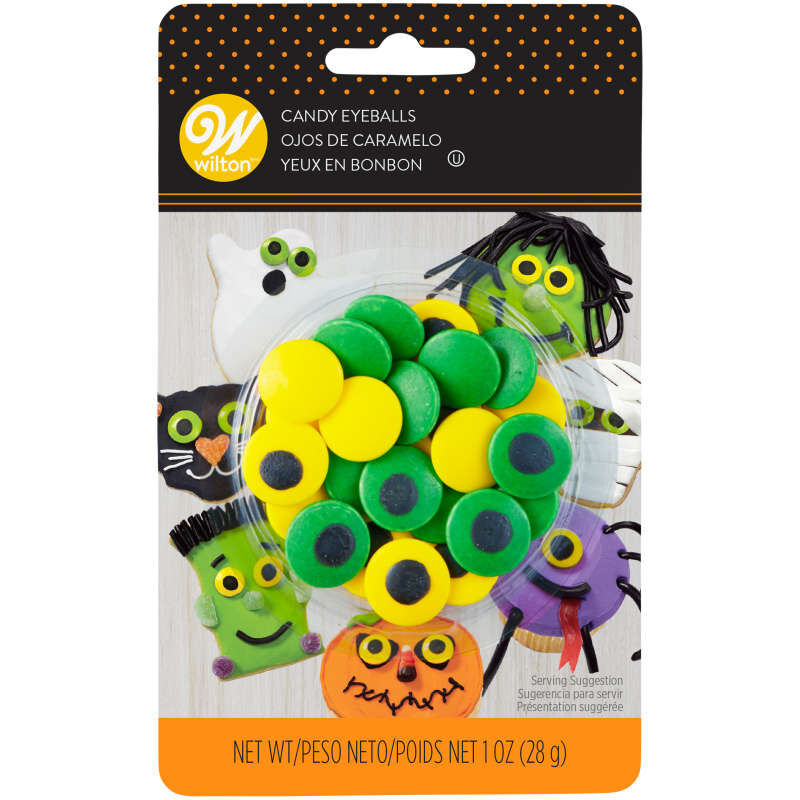 Large Green and Yellow Candy Eyeballs, 1 oz. image number 2