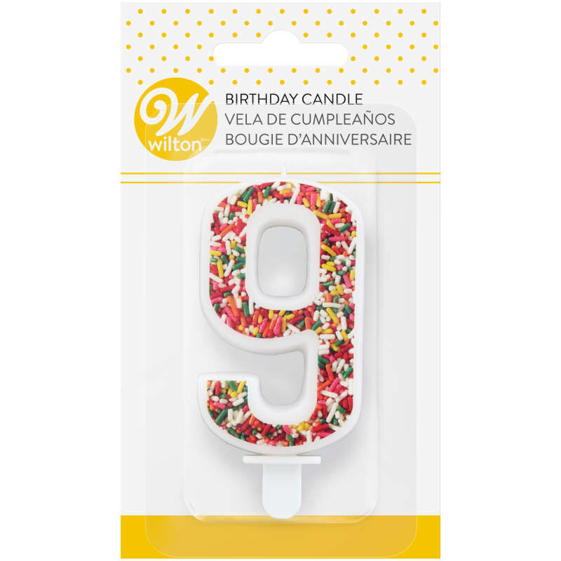 Sprinkle Pattern Number 9 Birthday Candle, 3-Inch image number 3