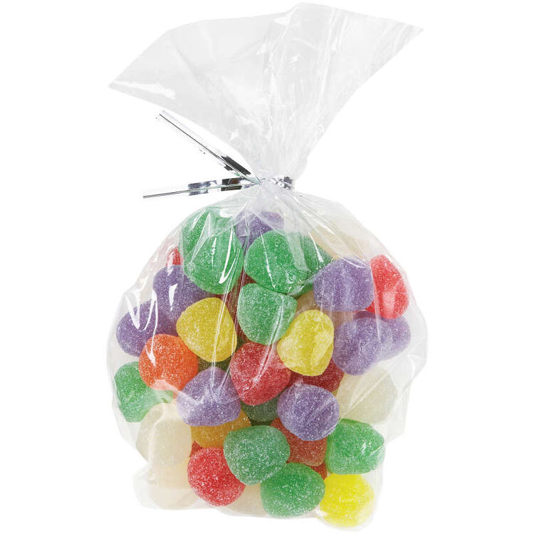 Oval Clear Treat Bags Filled with Gummy Candies