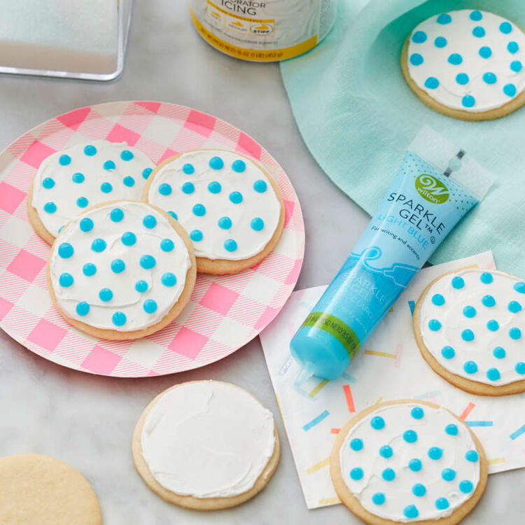 cookies with light blue sparkle gel