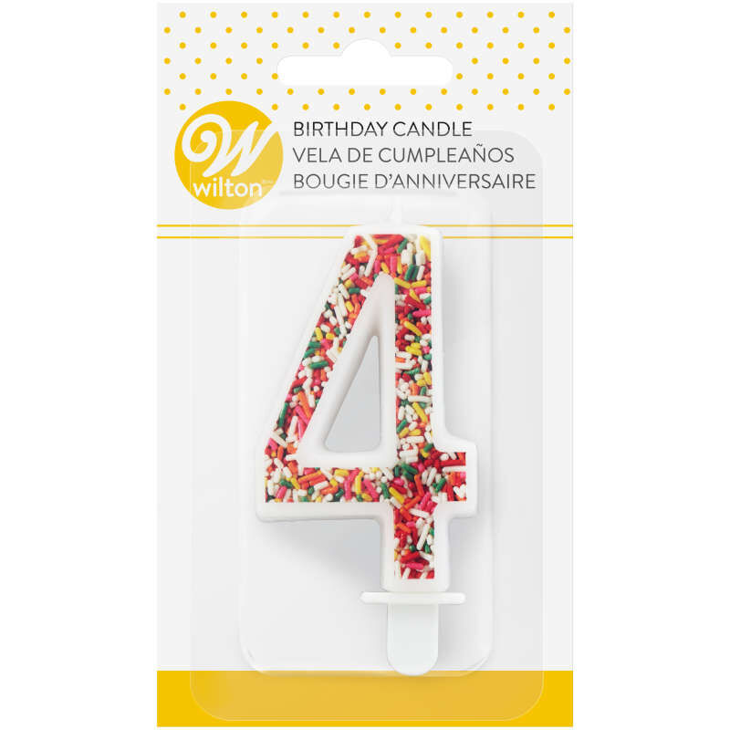 Sprinkle Pattern Number 4 Birthday Candle, 3-Inch image number 3