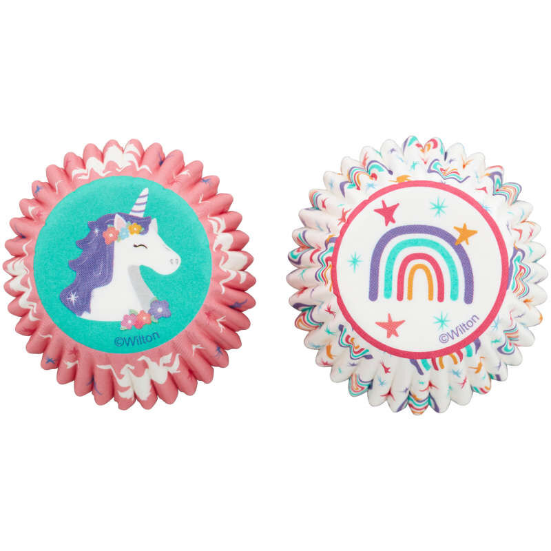 Unicorn and Rainbow Mini Cupcake Liners, 100-Count image number 0