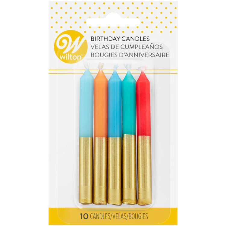 Blue, Orange and Red Gold-Dipped Birthday Candles, 10-Count